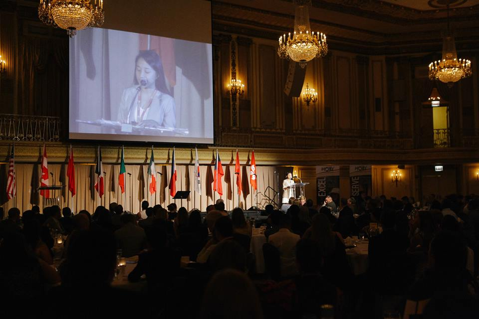 Leslie Torres passionately delivers her speech during the World Leadership Congress on July 25, 2015 at Chicago, Illinois.